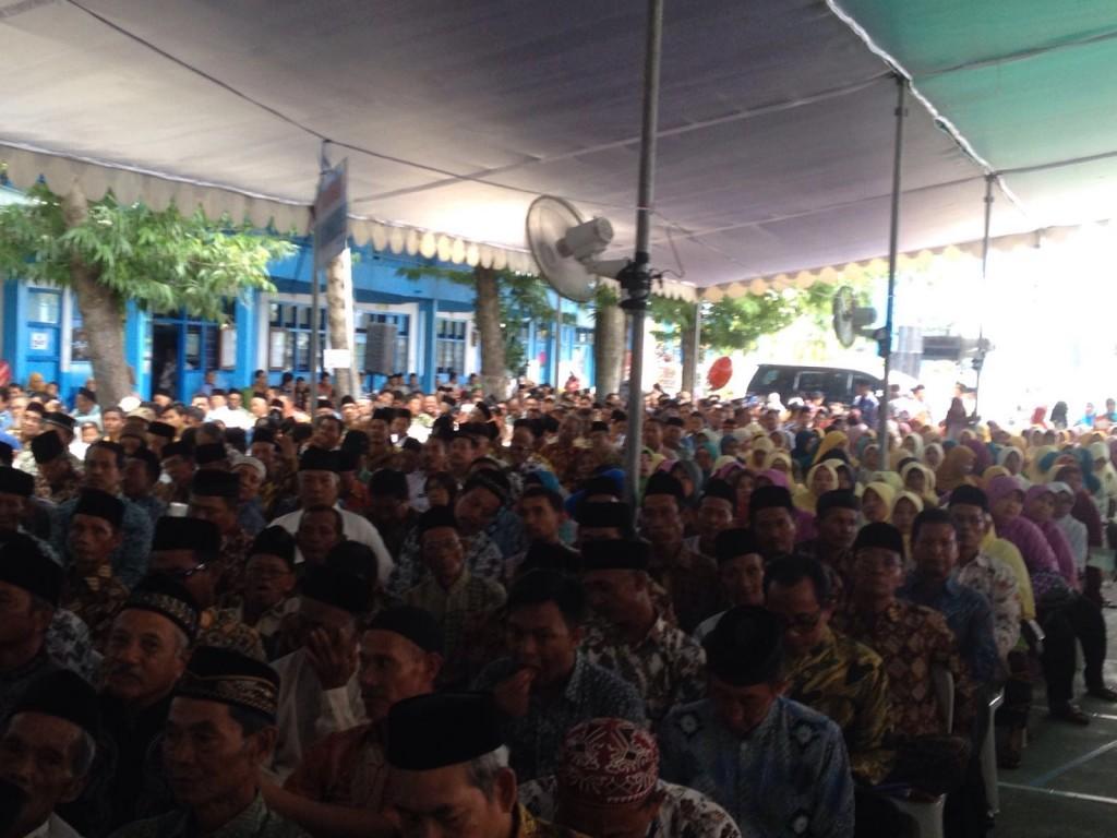 Jamaah hadir dalam pengajian PCM Laren, Lamongan (Minggu (06/03/2016)