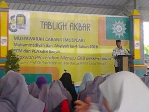 Ketua PWM Jatim, DR M. Saad Ibrahim, mengisi Tabligh Akbar di acara Pra-Musycab PCM GKB Gresik (foto: slamet)