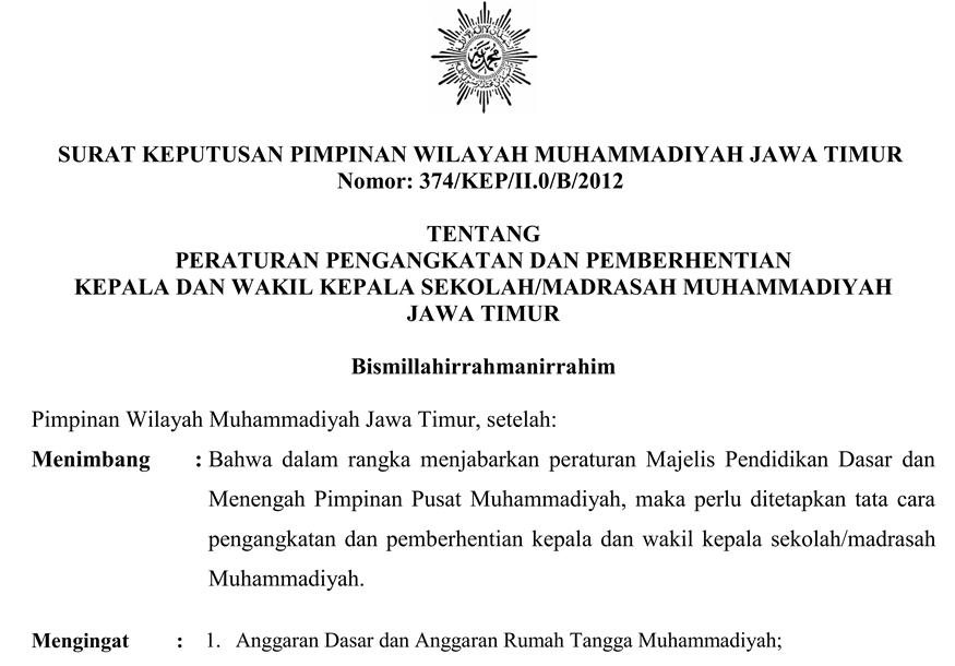 Peraturan Tentang Pergantian Kepala Sekolah Muhammadiyah Dan