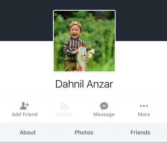 Tampilan akun Facebook kloningan Dahnil Anzar, Ketum PP Pemuda Muhammadiyah