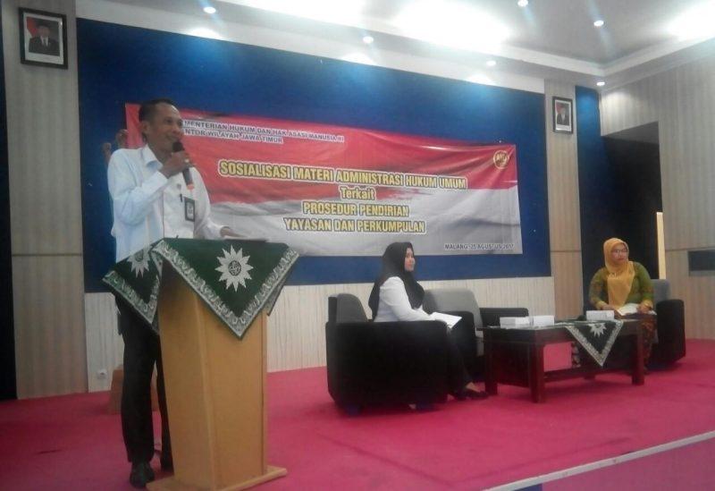 Nur Prapto saat memberikan sambutan dalam Sosialisasi AHU