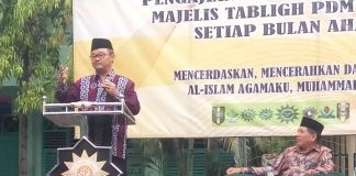 Sekum PP Muhammadiyah Abdul Mu'ti mengisi pengajian di PDM Nganjuk.