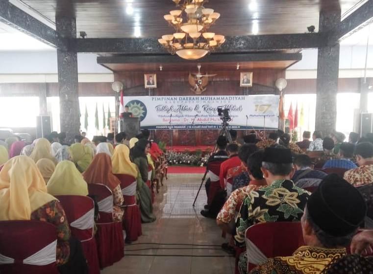 Resepsi milad Muhammadiyah Nganjuk di Pendapa Pemkab diiringi gamelan. (Rois/PWMU.CO)