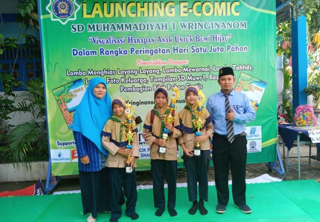 E-Comic 'Maslahat di Balik Pohon' diluncurkan SD Muwri. Acara dibarengkan peringatan Hari Gerakan Satu Juta Pohon, Sabtu (11/1/20).