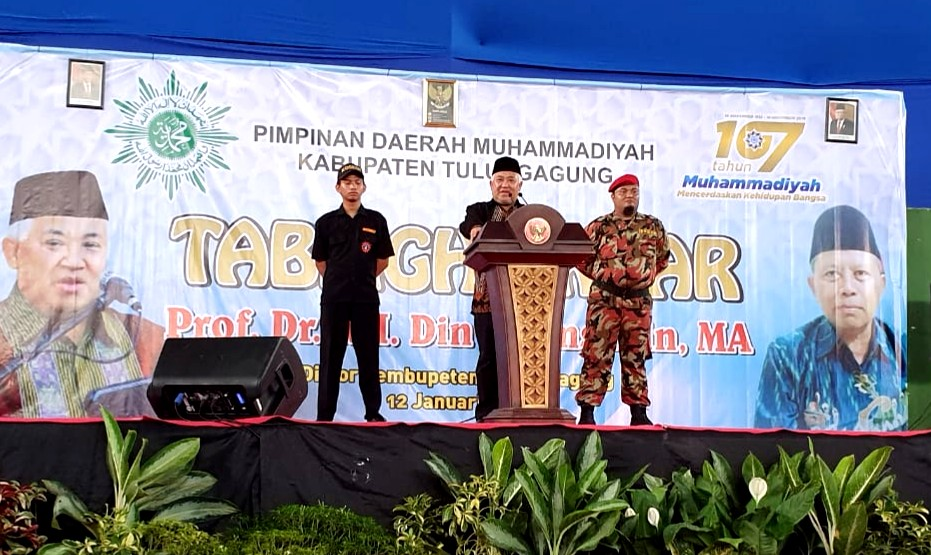 Din Syamsuddin berharap Tulungagung, seperti namanya: tulung dan agung, bisa menjadi pertolongan besar bagi bangsa Indonesia saat ini.