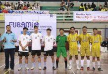 Pemain Timnas Futsal Indonesia dari Bintang Timur Surabaya: Septyan Dwi Chandra, Fajriyan Albajrie, dan Friski Dwiki, menjadi guest star Fubamio V 2K20.