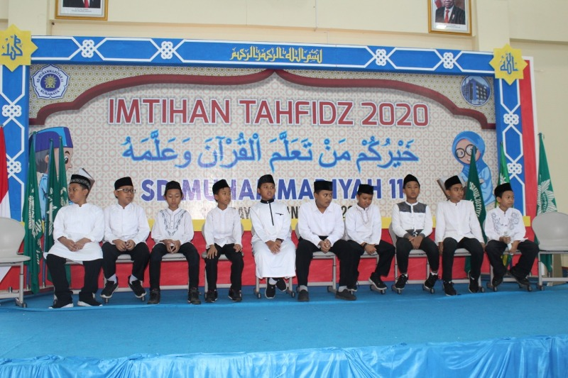 Peserta imtihan tahfidh Quran SD Muhlas hafalan juz 30 dan 29. (Muriyono/PWMU.CO)