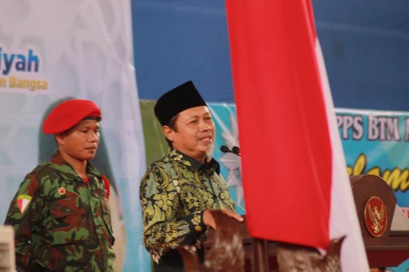 Sulthon Amien memberikan sambutan di tabligh akbar PDM Tulungagung. (Hendra Nur/PWMU.CO)