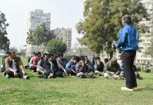 Forza PCIM Mesir diikuti mahasiswa baru al-Azhar berlangsung di International Park. (Sena/PWMU.CO)