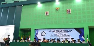 Mars NU iringi pengukuhan Prof Biyanto yang Muhammadiyah. Itu terjadi di UINSA Surabaya. Biyanto tawarkan moderasi Islam untuk tangani radikalisme. Din Syamsuddin hadir untuk menyampaikan selamat!