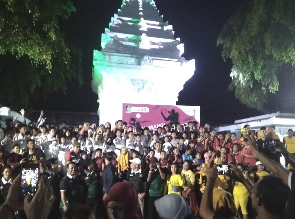 Dispora Banyuwangi launching program Sport Show di ruang terbuka hijau (RTH) Taman Blambangan, Jumat (7/2/20). Peluncuran program itu berlangsung semarak.