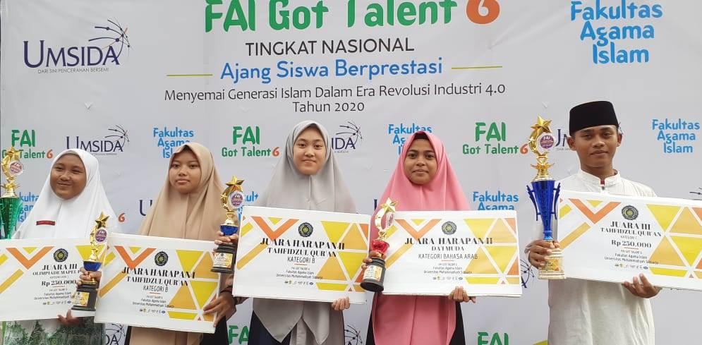 Ponpes Al Mizan borong juara FAI Got Talent 6 2020, perlombaan yang digagas Fakultas Agama Islam Universitas Muhammadiyah Sidoarjo, Sabtu (08/02/20).