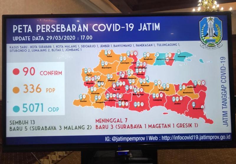 Zona merah daerah Covid-19 Jatim bertambah menjadi 18 kabupaten/kota. (Faisol/PWMU,CO)