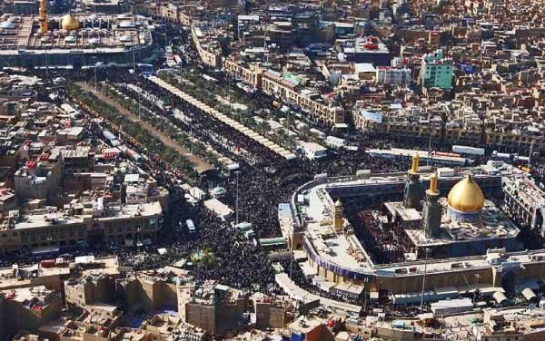 Kota Karbala saat ini. Tiap tahun dikunjungi peziarah kaum Syiah memperingati tragedi Karbala.