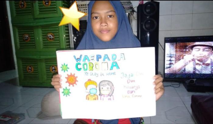 SMP Mutu kampanye poster Corona. Kegiatan membuat poster ini sudah direalisasikan sejak pekan lalu dan puncaknya pada hari Rabu (08/4/2020).