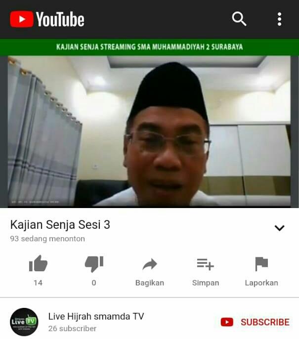 Kajian Senja Smamda menjadi salah satu solusi menghidupkan nuansa Ramadhan di tengah pandemi. Anjuran stay at home atau di rumah saja, tidak menghalangi warga SMA Muhammadiyah 2 (Smamda) Surabaya meraih pahala di bulan Ramadhan.