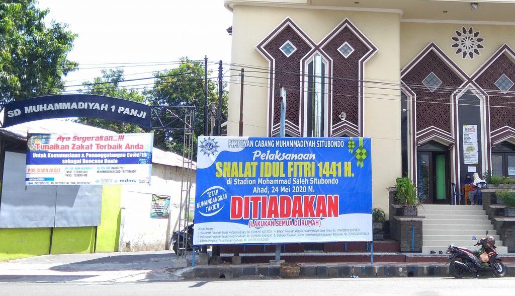 Muhammadiyah Situbondo tiadakan shalat Idul Fitri. Sebanyak 10 lokasi se-Kabupaten Situbondo meniadakan shalat Idul Fitri 1441 H  yang jatuh pada Ahad (24/5/2020).