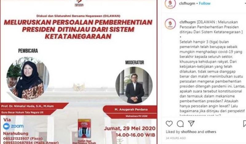 Poster diskusi mahasiswa UGM yang membuat penyelenggaranya diteror dengan mencatut Muhammadiyah Klaten.
