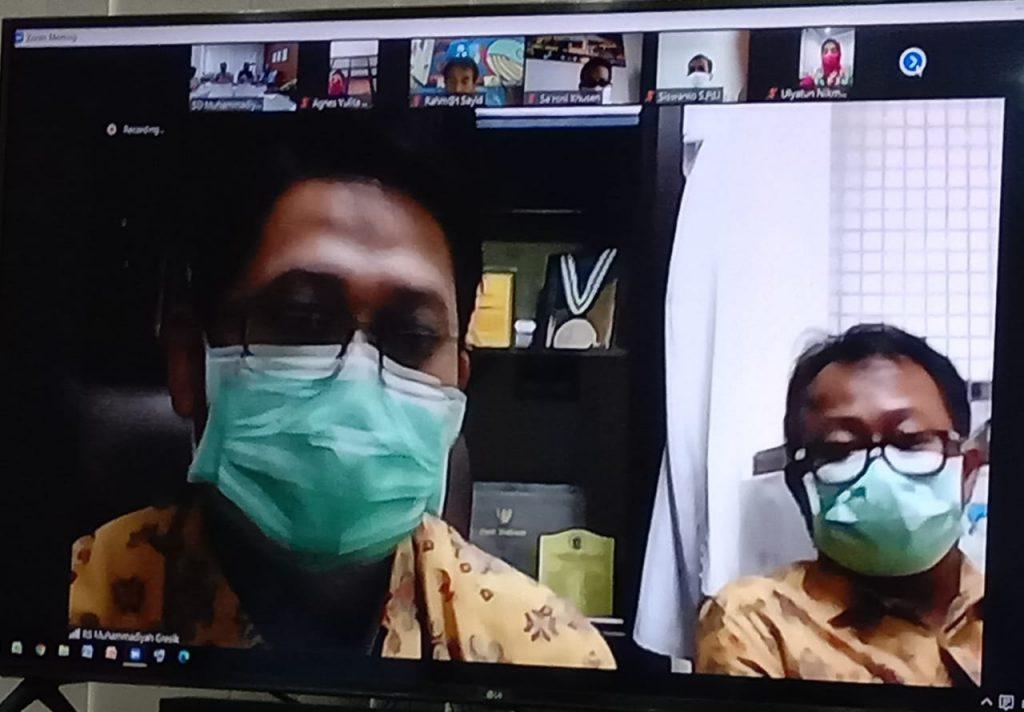 Pastikan langkah sebelum buka sekolah dilakukan Majelis Dikdasmen Pimpinan Cabang Muhammadiyah (PCM) GKB, Sabtu (30/5/2020). Hal ini dilakukan dengan menggandeng RS Muhammadiyah Gresik (RSMG) dalam kegiatan sharing session secara online.