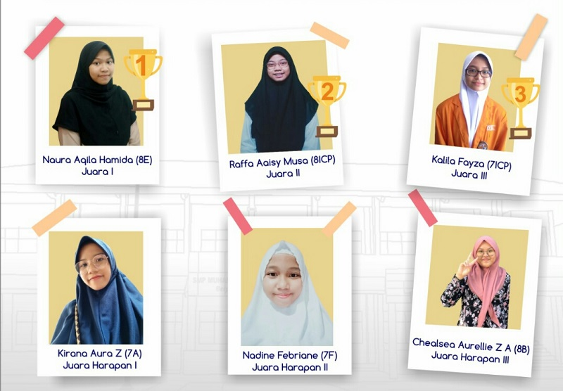 Kisah relawan Palestina menjadi cerita terbaik dalam Lomba Cerpen Virtual SMP Muhammadiyah 12 GKB (Spemdalas) yang diumumkan secara online, Jumat (19/6/20).