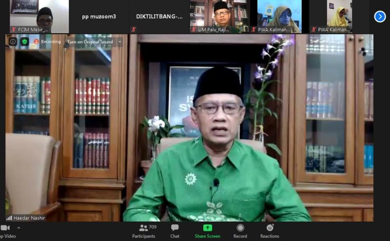 Silaturahim virtual dibuka oleh Haedar Nashir.