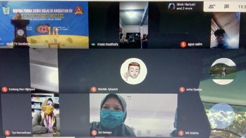 Wisuda virtual kelas IX digelar SMP Muhammadiyah 7 (Mutu) Surabaya dengan tema Bangunlah dari Mimpi dan Kejarlah Cita-Citamu, Senin (29/6/20).