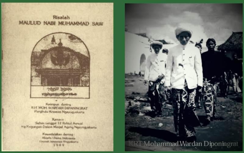 KRT KH Muhammad Wardan dan sampul kitab Risalah Maulid.