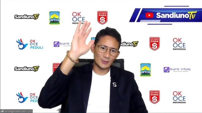 Sandiaga Uno Sapa Siswa Smamda Surabaya dalam acara Talk Show Edufair 2020 secara virtual melalui Zoom dan streaming di kanal Youtube Smamda.id, Sabtu (17/10/20).