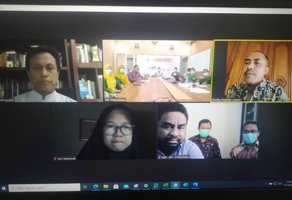 Prodi PAI UM Surabaya raih akreditasi A dari BAN PT Rabu (21/10/20), setelah sebelumnya menjalani visitasi secara daring