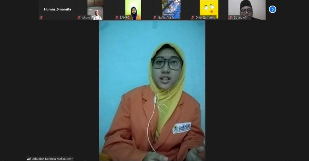 Kultum Maulid Nabi Muhammad SAW secara virtual disampaikan dua siswa Smamita dalam Kajian Spesial Rasulullah, Kamis (29/10/20).