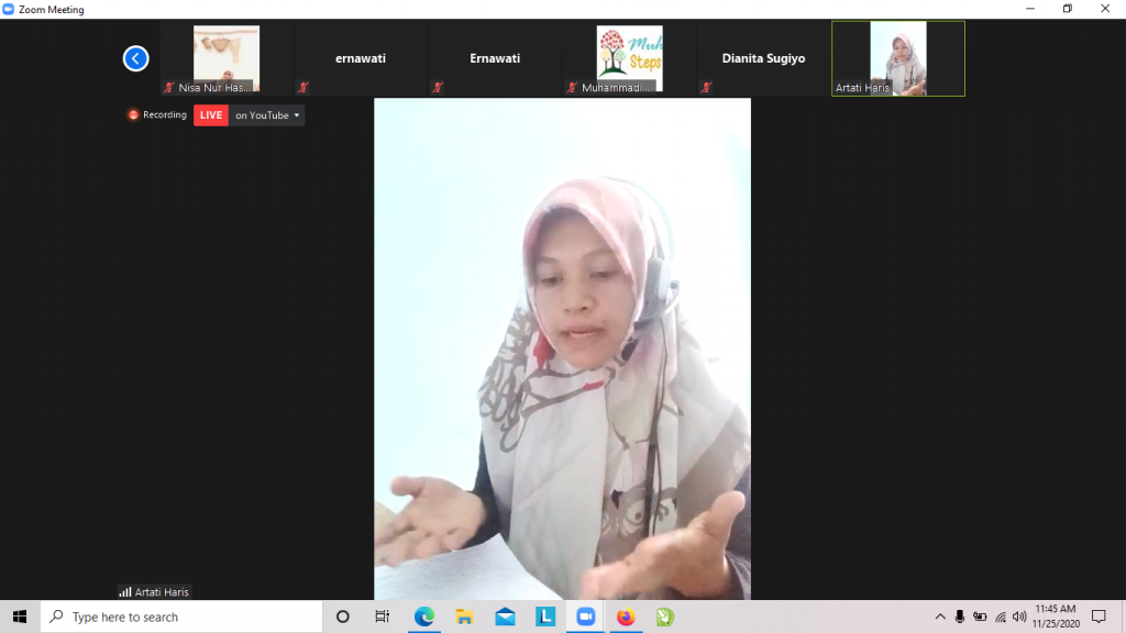 Artati Haris saat Press Conference secara virtual yang diselenggarakan Muhammadiyah Tobacco Control Network (Tangkapan Layar Zoom Nely Izzatul/PWMU.CO)