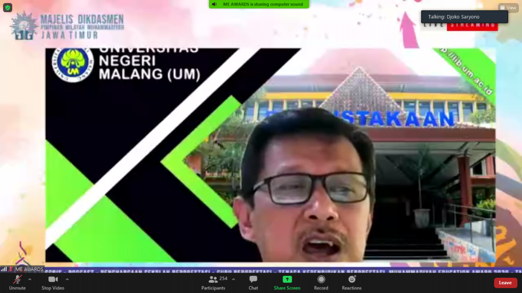 Gap berlapis dan ketuarentaan dini yang terjadi pada lembaga pendidikan di Indonesia menjadi tantangan Muhammadiyah saat ini. Hal tersebut dijelaskan Prof Djoko Saryono MPd dalam rangkaian Grand Opening Muhammadiyah Education Awards (MEA) 2020 Special Edition, Selasa (15/12/2020).