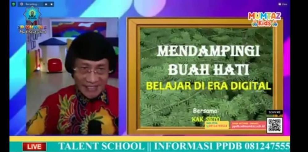 Pesan Kak Seto dalam webinar parenting SD Mumtaz Mendampingi Buah Hati Belajar di Era Digital, Ahad (10/1/21).