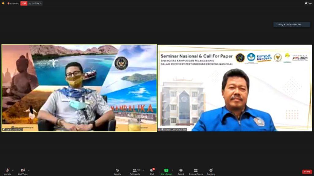 Sandiaga Uno dalam Seminar Nasional dan Call for Papers Tahun 2021 Fakultas Ekonomi UM Jember. (Istimewa/PWMU.CO)