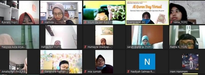 Siswa Spemdalas mengikuti kegiatan Quran Day secara virtual, Sabtu (9/1/21). Kegiatan ini diikuti siswa kelas VII dengan tema Generasi Masa Depan Tidak Lupa Baca Quran.