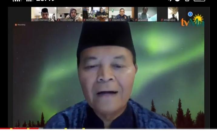 Hidayat Nur Wahid pada Pengajian Orbit Virtual Mengenang Nadjamuddin Ramli (Nely Izzatul/PWMU.CO)