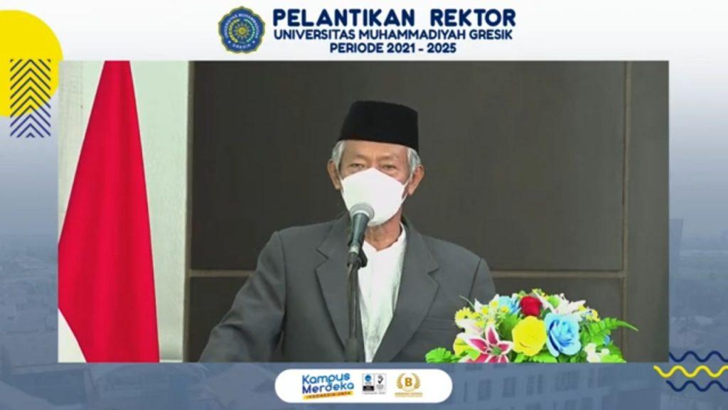 Dr Saad Ibrahim MA memberikan arahan dalam pelantikan Rektor Universitas Muhammadiyah Gresik (Aries Kurniawan/PWMU.CO)