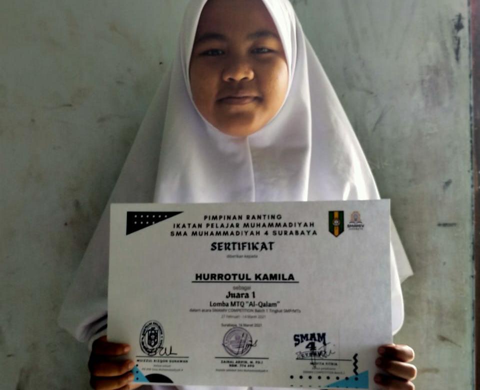 Hurrotul Kamila, salah satu dari ratusan siswa-siswi SMP/MTs yang meramaikan Smamiv Competition (Wahyu Prihantini/PWMU.CO)