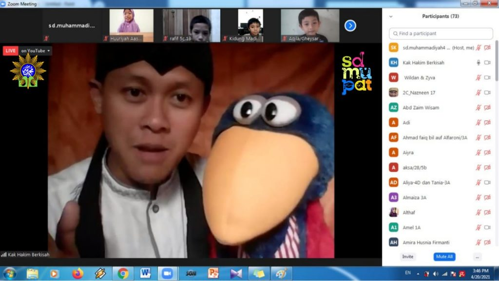 SD Mupat Malang gelar Ngabuburit Virtual bersama Kak Hakim dan Si Ale (Ahmad Afwan Yazid/PWMU.CO)