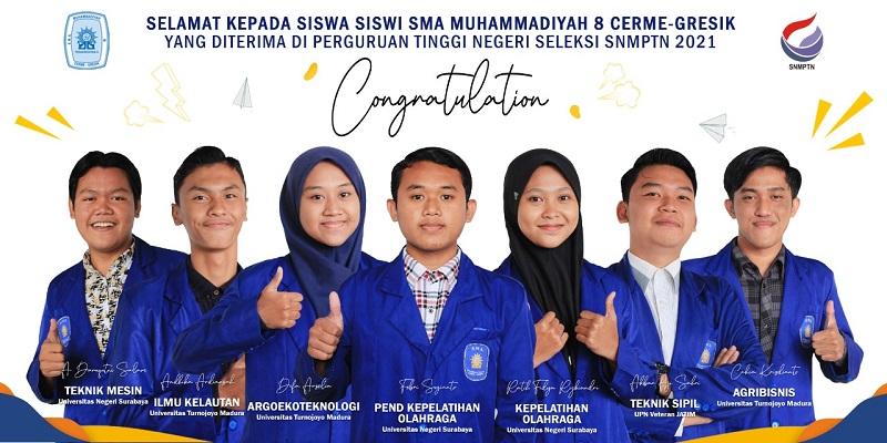 SMAM 8 Gresik meloloskan 7 siswa berprestasi di Seleksi Nasional Masuk Perguruan Tinggi Negeri (SNMPTN) yang diumumkan 22 Maret 2021 lalu.