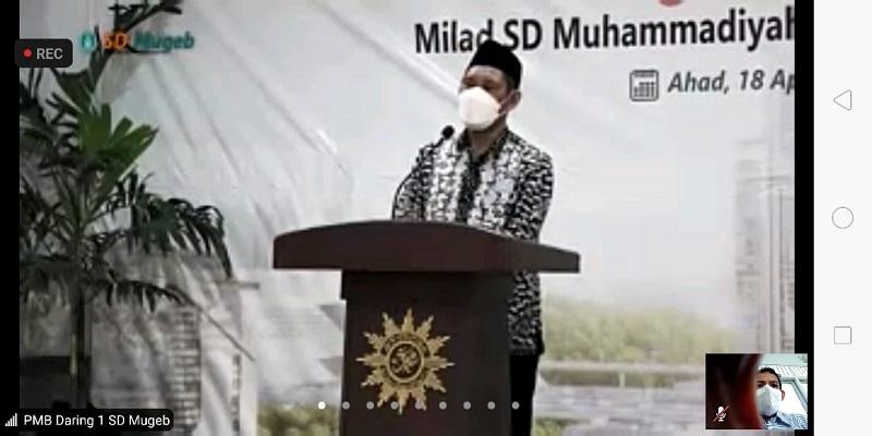 Doa Milad ke-26 SD Muhammadiyah 1 GKB (Mugeb) Gresik dari Ketua Pimpinan Daerah Muhammadiyah (PDM) Kabupaten Gresik Ahmad Dr Taufiqullah A. Ahmady MPdI semoga diberikan kebaikan oleh SWT, Ahad (18/4/21).