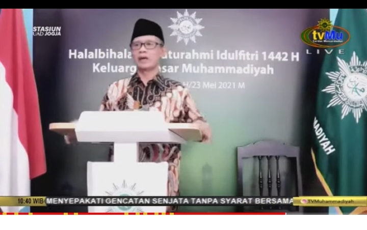 Haedar Nashir: Banyak peradaban musnah, namun Muhammadiyah tetap tegak dan kokoh di abad kedua (Tangkapan Layar Nely Izzatul/PWMU.CO)