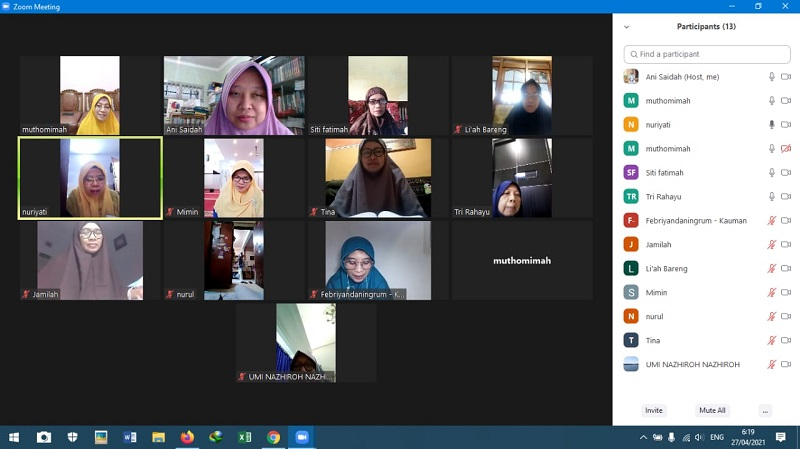 Tahsin virtual, Aisyiyah Kota Malang melakukan Gerakan Aisyiyah Mengaji disampaikan Ketua Pimpinan Daerah Aisyiyah (PDA) Sri Herawati, Kamis (6/5/21).