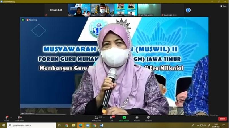 FGM Jawa Timur bisa menghasilkan guru yang tidak gentar berinovasi di situasi berubah ini disampaikan ketua Majelis Dikdasmen Pimpinan Wilayah Muhammadiyah (PWM) Jawa Timur Dr Arbaiyah Yusuf MA, Rabu (2/6/21).