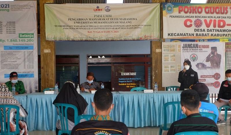 Pengolahan pangan berbasis padi oleh PPM Universitas Muhammadiyah Malang (UMM) gelombang 6 kelompok 73 di Desa Datinawong, Kecamatan Babat, Kabupaten Lamongan resmi dibuka, Selasa (8/6/21).