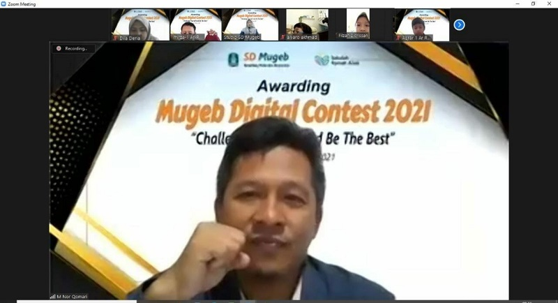 SD Mugeb mengapresiasi siswa melalui acara Awarding Mugeb Digicontest (AMD) 2021 secara virtual, Jumat (18/06/21).