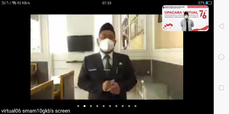 Pesan Bupati Gresik H Fandi Akhmad Yani SE di Upacara Virtual HUT RI ke-76 Mugeb School supaya pandemi dijadikan momen terbaik meraih mimpi, Selasa (17/8/21).
