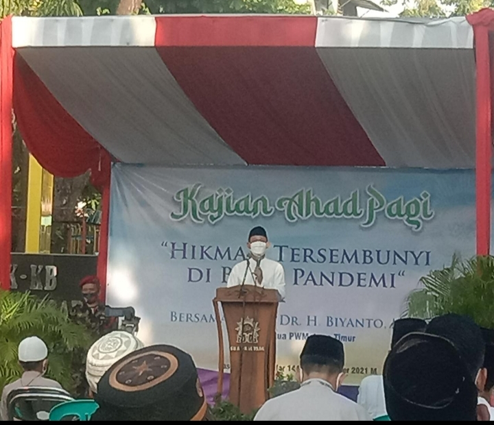 Drs H Abu Nasir MAg, Ketua PDM Kota Pasuruan menyampaikan lima ciri orang Muhammadiyah (Dadang Prabowo/PWMU.CO)