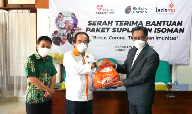 Lazismu salurkan 450 paket isoman. Penyerahan bantuan suplemen isoman berlangsung di Kantor Pimpinan Wilayah Muhammadiyah (PWM) DI Yogyakarta, Selasa (12/10/2021).